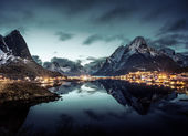 Sunset  in Reine Village, Lofoten Islands, Norway — Stock Photo