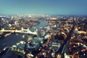 Bokeh of London aerial view with Tower Bridge, UK — Stock Photo
