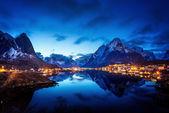 Sunset  in Reine Village, Lofoten Islands, Norway — Stock Photo