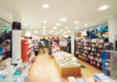 Wazig foto van boekhandel — Stockfoto