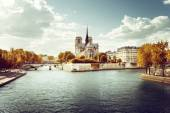 Notre Dame church in Paris and autumn sunny day — Stock Photo