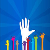 Colored social hands up donation — Stock Vector