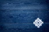 Christmas wooden background with snowflakes  — Stockfoto
