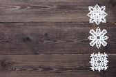 Christmas Border - wooden background with snowflakes — Stockfoto