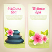 Set of thematical spa cards with wellness items isolated — Stock Vector