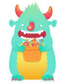 Personnage souriant drôle de monstre moelleux halloween — Vecteur
