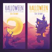 Set of Halloween banners with spooky haunted house — Stock Vector