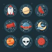Astronomic round set of flat space icons — Stock Vector