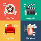 Cinematography set of square movie banners — Stock Vector