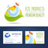 Farm eco production branding style template mockup — Stock Vector