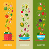 Concept banners with flat vegetable icons — Stock Vector