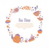 Elegant set of hand drawn tea and cakes circle wreath for busine — Stock Vector