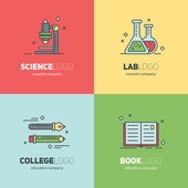 Thin lined set of logos for scientific research and education — Stock Vector