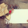 Gift with a wooden heart — Stock Photo #80856618