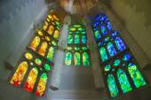 Stained glass windows in Sagrada Familia — Stock Photo
