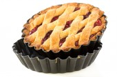 Cake with raspberry jam in the form of a non-stick coating. — Stock Photo