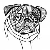 Dog pug head — Stock Vector