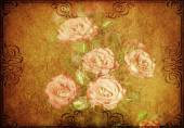 Grunge paper with roses — Stock Photo
