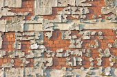 Peeling facade brick wall as background — Stok fotoğraf