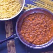 Spaghetti bolognese sauce in pan — Stock Photo #58303427
