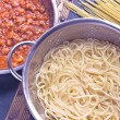 Spaghetti bolognese sauce in pan — Stock Photo #59434063