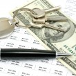 Pen and one hundred dollar bill with credit rates and house key — Stock Photo #64451017