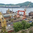 Постер, плакат: Ships on slipway Nakhodka Shipyard