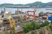 Ships on slipway. Nakhodka Shipyard — Stock Photo