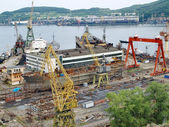 Ship on slipway. Nakhodka Shipyard — Stock Photo