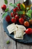 Italian traditional ravioli on the wooden table — Stock Photo