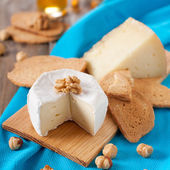Cheese, bread and walnuts — Stock Photo