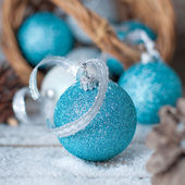 Blue balls with ribbon — Stock Photo