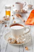 Cup of tea and nougat — Stock Photo