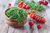 Arugula in bowl and tomatoes — Stock Photo