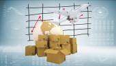 Earth, cardboard boxes and airplane — Stock Photo