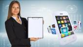 Businesswoman with smartphones and colorful apps — Foto Stock