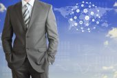 Businessman with world map — Stock Photo
