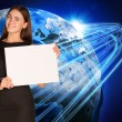 Businesswoman with glowing lines and Earth — Stock Photo #51845239