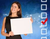 Businesswoman with checkboxes and world map — Stock Photo
