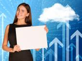 Businesswoman with cloud, figures and arrows — Foto Stock