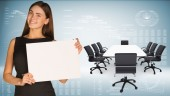 Businesswoman with conference table, chairs and laptops — Stok fotoğraf