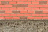 New decorative facing red brick wall — Stock Photo