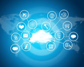 Cloud with computer icons. Technology concept — Stock Photo