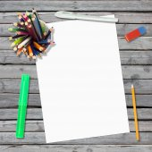 Lie on wooden floor empty paper sheet and stationery — Stock Photo