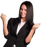 Beautiful businesswomen happily raised his hands up — Stock Photo