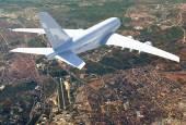 Big white airplane — Stockfoto