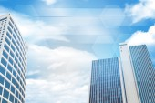 Skyscrapers and sky with clouds — Stock Photo