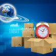 Earth and alarm clock on cardboard boxes — Stock Photo #55603269