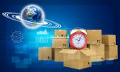Earth and alarm clock on cardboard boxes — Stock Photo