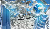 Buildings and Earth. Dollars falling from the sky — Stock Photo